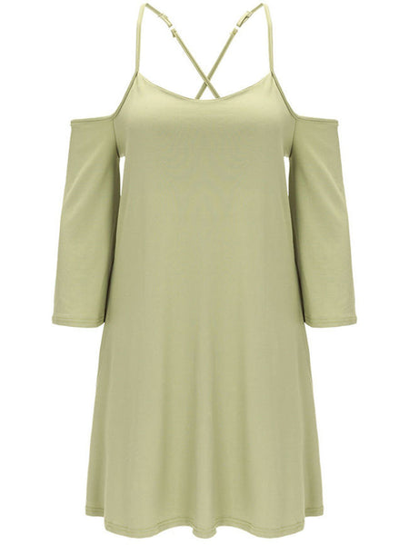 Simple Open Shoulder Solid Shift Dress - Bychicstyle.com