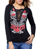 ByChicStyle Trendy Deep V-Neck Lace-Up Printed Long Sleeve T-Shirt - Bychicstyle.com