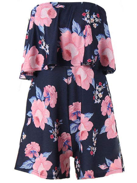 Strapless Flounce Floral Printed Romper - Bychicstyle.com