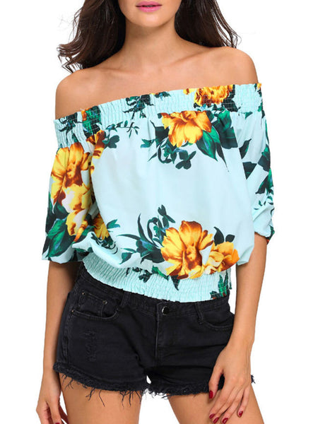 Off Shoulder Floral Printed Short Sleeve T-Shirt - Bychicstyle.com