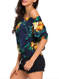 ByChicStyle Off Shoulder Floral Printed Short Sleeve T-Shirt - Bychicstyle.com