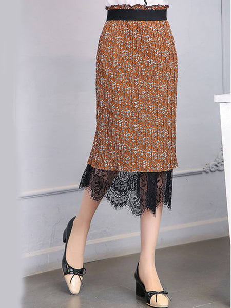 Decorative Lace Elastic Waist Two Way Printed Straight Midi Skirt - Bychicstyle.com