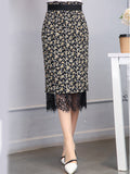 ByChicStyle Decorative Lace Elastic Waist Two Way Printed Straight Midi Skirt - Bychicstyle.com