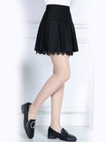 ByChicStyle Inverted Pleat Plain A-Line Mini Skirt With Underpant - Bychicstyle.com