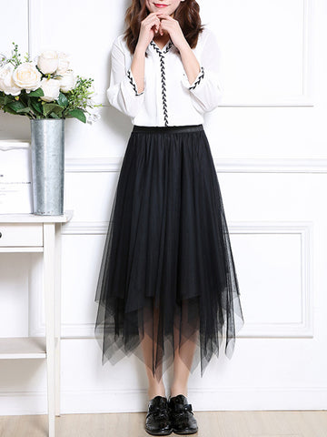 Casual Asymmetric Hem Elastic Waist  Plain  Flared Maxi Skirt