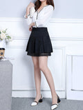 ByChicStyle Casual Elastic Waist A-Line Decorative Lace Mini Skirt With Underpant