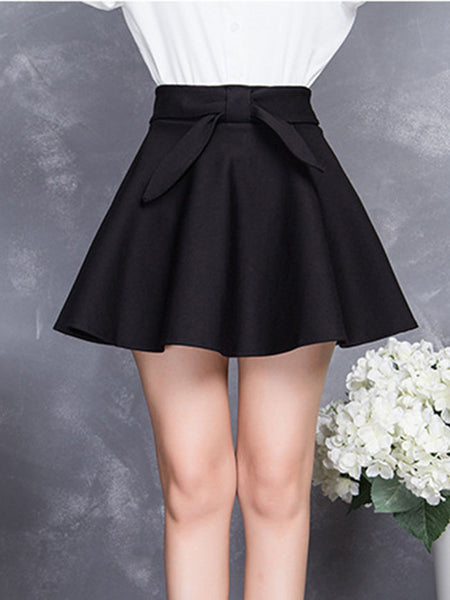 Bowknot Plain Flared Mini Skirt - Bychicstyle.com