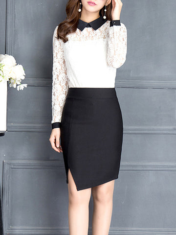 Casual Asymmetric Hem Slit Plain Pencil Midi Skirt