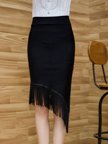 Casual Asymmetric Hem Fringe Plain Pencil Midi Skirt
