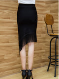 ByChicStyle Casual Asymmetric Hem Fringe Plain Pencil Midi Skirt