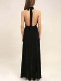ByChicStyle Halter Backless High Slit Plain Chiffon Maxi Dress - Bychicstyle.com