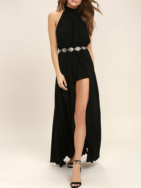 Halter Backless High Slit Plain Chiffon Maxi Dress - Bychicstyle.com