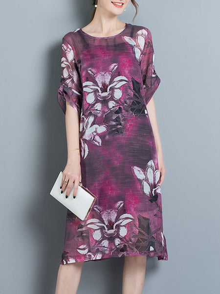 Round Neck Printed Roll-Up Sleeve Two-Piece Shift Dress - Bychicstyle.com