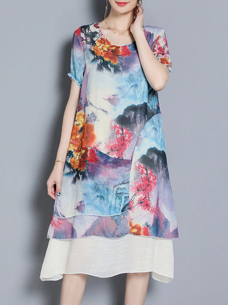 Round Neck Printed Midi Shift Dress - Bychicstyle.com