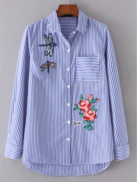 Casual Polo Collar Patch Pocket Embroidery Striped Shirts&Blouse