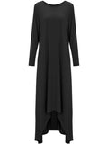 ByChicStyle Loose High-Low Round Neck Plain Maxi Dress - Bychicstyle.com