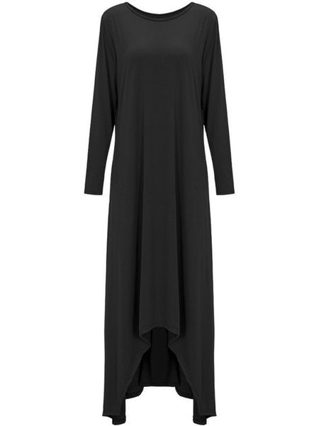 Loose High-Low Round Neck Plain Maxi Dress - Bychicstyle.com