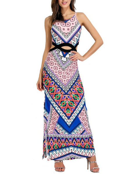 Spaghetti Strap Cutout Maxi Dress In Tribal Printed - Bychicstyle.com