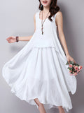 ByChicStyle Casual Asymmetric Hem Round Neck Plain Cotton/Linen Maxi Dress