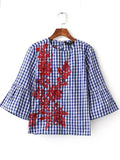 ByChicStyle Round Neck Embroidery Plaid Bell Sleeve Shirts&Blouse - Bychicstyle.com