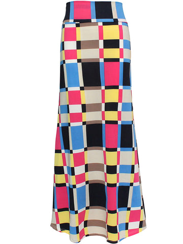 Colorful Color Block Plaid Mermaid Maxi Skirt - Bychicstyle.com