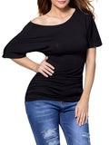 ByChicStyle One Shoulder Plain Short Sleeve T-Shirt - Bychicstyle.com