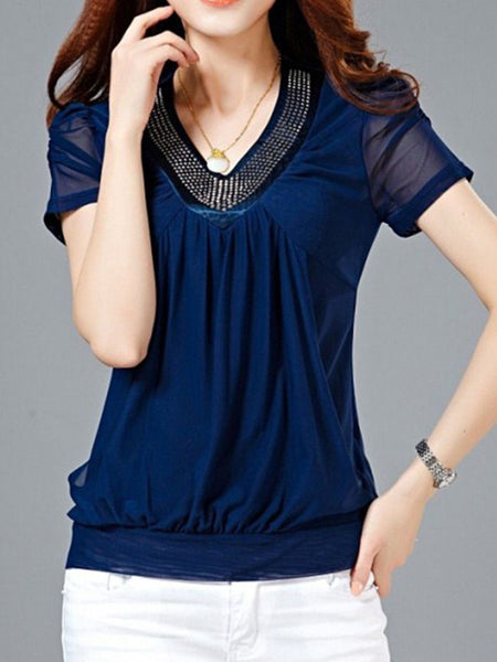 Casual V-Neck Rivet Hollow Out Plain Puff Sleeve Blouse