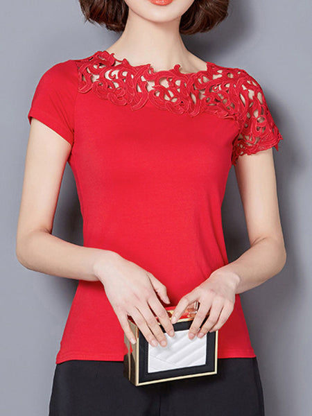 Casual Asymmetric Neck Hollow Out Plain Blouse
