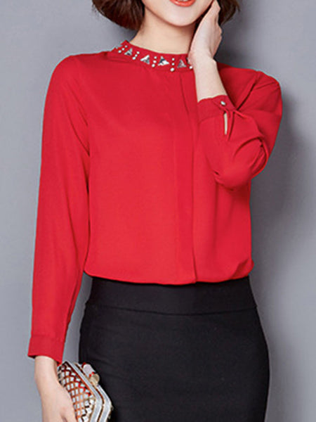 Casual Rhinestone Band Collar Plain Long Sleeve Blouse