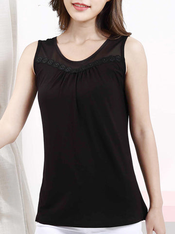 Casual Basic Round Neck Patchwork Hollow Out Plain Sleeveless T-Shirt