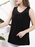 ByChicStyle Casual Basic Round Neck Patchwork Hollow Out Plain Sleeveless T-Shirt