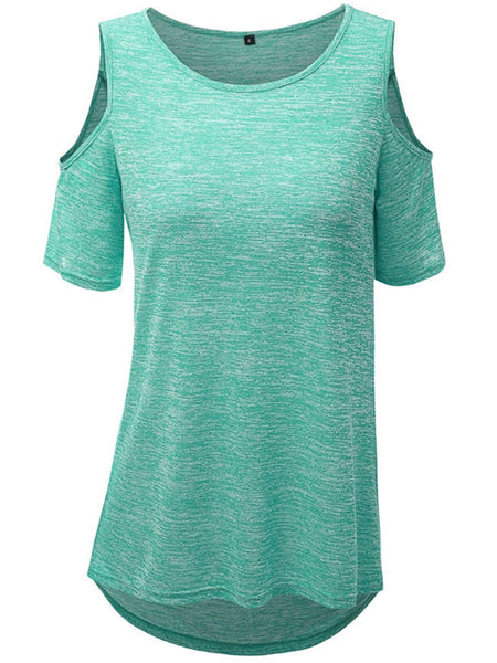 High-Low Open Shoulder Short Sleeve T-Shirt - Bychicstyle.com