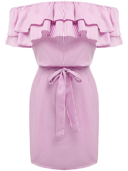 Off Shoulder Bowknot Tiered Vertical Striped Bodycon Dress - Bychicstyle.com