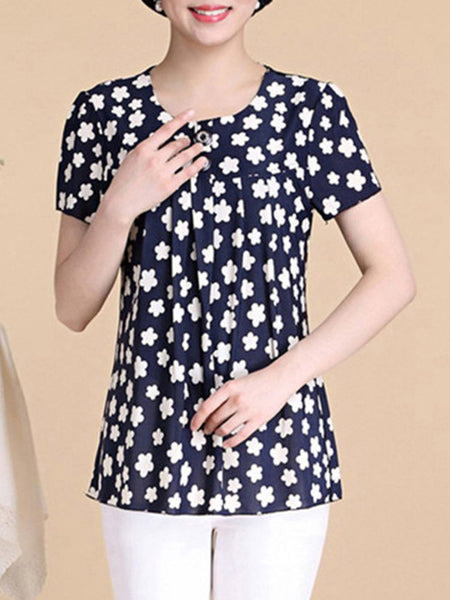 Round Neck Chic Printed Short Sleeve T-Shirt - Bychicstyle.com