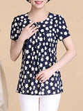 ByChicStyle Round Neck Chic Printed Short Sleeve T-Shirt - Bychicstyle.com