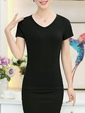 ByChicStyle Casual Basic V-Neck Plain Short Sleeve T-Shirt