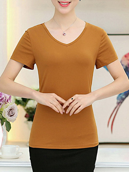 Casual Basic V-Neck Plain Short Sleeve T-Shirt