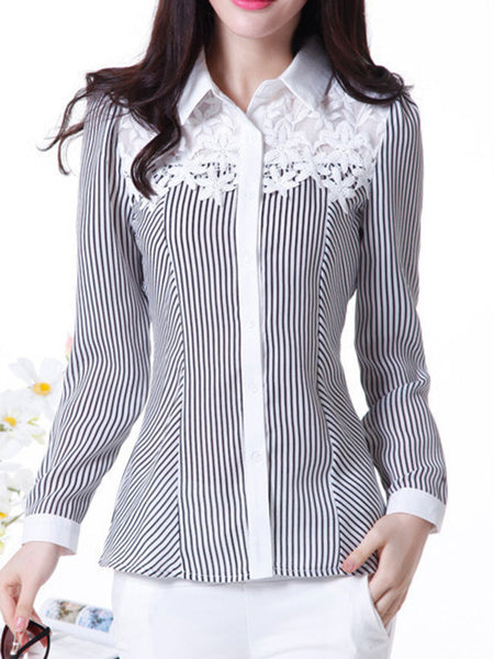Casual Turn Down Collar Decorative Lace Striped Blouse