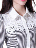 ByChicStyle Casual Turn Down Collar Decorative Lace Striped Blouse
