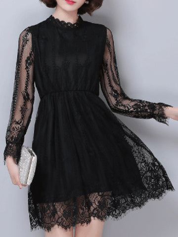 Band Collar Hollow Out Plain Lace Skater Dress - Bychicstyle.com