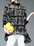 ByChicStyle Casual Band Collar Asymmetric Hem Printed Batwing Sleeve Blouse