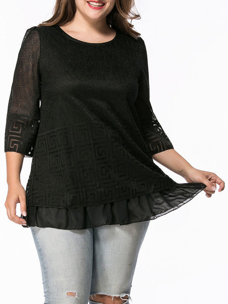 Round Neck Hollow Out Plain Plus Size Blouse - Bychicstyle.com