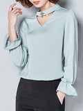 ByChicStyle Casual Band Collar Cutout Plain Blouse