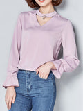 Casual Band Collar Cutout Plain Blouse