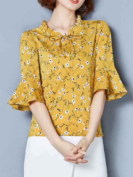 Bowknot Floral Printed Bell Sleeve Blouse - Bychicstyle.com