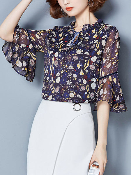 Tie Collar Hollow Out Printed Bell Sleeve Blouse - Bychicstyle.com
