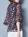 ByChicStyle Tie Collar Hollow Out Printed Bell Sleeve Blouse - Bychicstyle.com