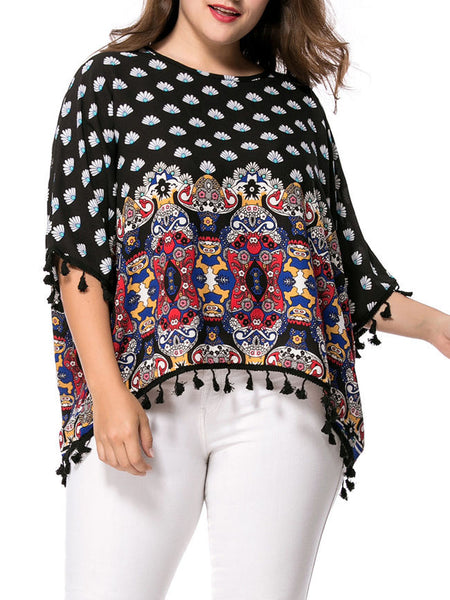 High-Low Tassel Tribal Printed Batwing Sleeve Plus Size T-Shirt - Bychicstyle.com