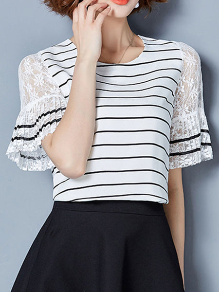 Round Neck Patchwork Hollow Out Striped Blouse - Bychicstyle.com