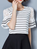 ByChicStyle Round Neck Patchwork Hollow Out Striped Blouse - Bychicstyle.com